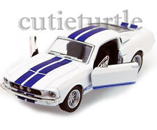 Kinsmart 1967 Shelby Ford Mustang GT 500 1:38 Diecast White With Blue Stripes