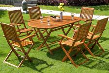 Deuba Boston Salon de Jardin 1 Table et 6 Chaises en Bois (991703)