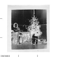 Old Vintage Photo NEGATIVE IMAGE GIRLS CHRISTMAS UNUSUAL ABSTRACT ODD