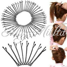 50pcs Metal Waved Hair Clips Bobby Salon Pins Grips Hairpins Barrette Black S