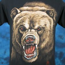 vintage 80s GRIZZLY BEAR PAPER THIN T-Shirt M/L biker nature wild animal face