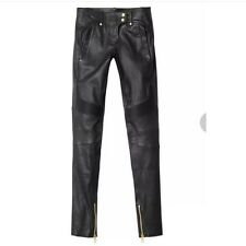 NWT BALMAIN x H&M BLACK LEATHER Legging BIKER PANTS Size US 6