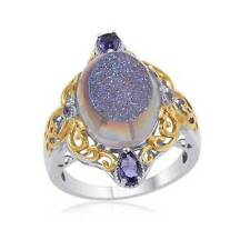 9.16ct Carribbean Blue Drusy Quartz & Iolite Ring in 925 Sterling Silver Size J