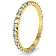 Micro Prong Round Diamond Women Eternity Ring 18k Yellow Gold Wedding Band 0.6Ct