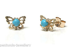 9ct Gold Stud earrings Turquoise Butterfly Boxed Made in UK