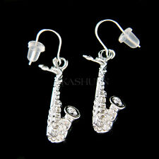 w Swarovski Crystal TENOR ALTO ~SAXOPHONE~ Sax music musical instrument Earrings