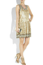 Red Valentino gold sequin and tulle drop-waist tank dress XS/ it 38