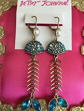 Betsey Johnson Into The Blue Pearl Crystal Blue AB Fish Bone Skeleton Earrings
