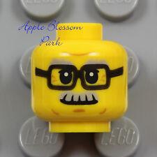 NEW Lego Male MINIFIG HEAD -Black Rimmed Eye Glasses Grandpa Gray Moustache Hair