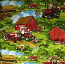 COUNTRY QUILTING FABRIC- Farmall Tractor Barn Farms Allover Fat Quarter 50x55cm