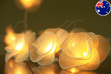 20 CREAM Nylon Rose Flower BATTERY Operated LED String Fairy Lights Wedding Gift
