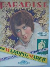 VINTAGE 'Paradise' Movie Theme Sheet Music from the movie The Wedding March 1928