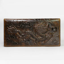 Real Leather Mens Long Style Wallet Brown Dragon Pattern NEW Credit Card Purse