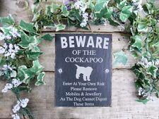 Umoristico diffidare degli Cockapoo DOG Slate Porta Cancello Placca Segno