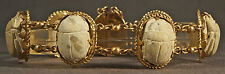 Etruscan 1950s Egyptian Revival Solid 14K Gold & Clay Stone Scarab Link Bracelet