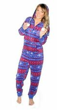 Ladies Supersoft Hooded Fleece Onesie Onezee Fairisle Christmas Snowflake Print