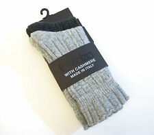 2 PR Frankalza Italy Ladies Boot Socks Merino Wool Cashmere Blend Grey Charcoal