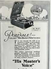 Vintage 1925 Portable Gramophone Nipper His Master's Voice Record Player Ad