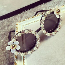 Women Retro Fad Designer Flower Pearl Outdoor Eyewear Eye Glasses Sunglasses