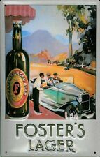 FOSTERS AUTO Vintage Metal Pub Sign | 3D Embossed Steel | Home Bar