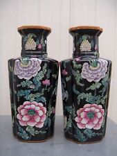 China Antique Pastel Flowers on black glaze four petals Vases pair一对粉彩花图黑釉底四瓣花瓶