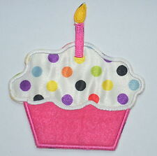 PINK CUPCAKE BIRTHDAY CANDLE APPLIQUE Embroidered Sew Iron On Cloth Patch Badge