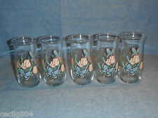 PAINTED TULIP SHAPED DRINKING GLASSES WITH TULIPS AND BUTTERFLIES LOT OF 5