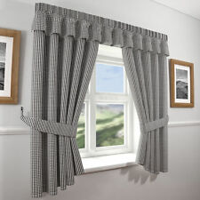 GINGHAM KITCHEN CURTAINS & TIE BACKS,FULLY WASHABLE IN 3 GREAT COLOURS,FREE P&P
