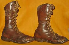"""VINTAGE COLLECTIBLE BOYS LACE UP & BUCKLES HIGH TOP LEATHER SHOES w/STAR 8 1/4""""H"""