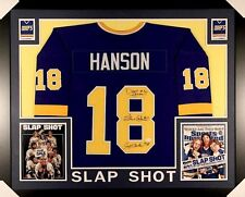"""Hanson Brothers Signed """"Slap Shot"""" Chiefs 35x43 Custom Framed Jersey Signed by 3"""