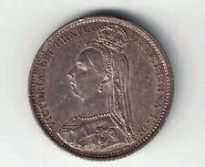 GREAT BRITAIN 1887 6 PENCE QUEEN VICTORIA .925 STERLING SILVER FOREIGN COIN