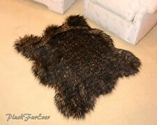"60"" Lodge Cabin Rug Decor Black Tip Wolf Luxury Faux Fur Area Rug Cottage Style"