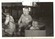 Old Vintage Photograph Adorable Babies Baby in Box Toy Riding Horse 1971
