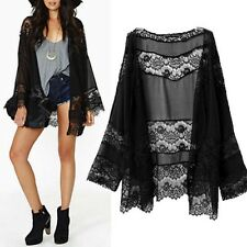 WOMENS BLACK KIMONO JACKET TOP 16-18 BOHO LACE BELL LONG SLEEVE SOFT SILKY NEW