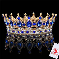 Baroque Crystal Queen Crown Tiara Silver White Sapphire Teardrop Full Gold