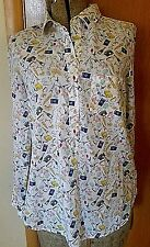 J Crew sz 6 Popover French Passport Travel Vacation Theme Cotton Shirt