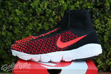 NIKE AIR FOOTSCAPE MAGISTA FLYKNIT SZ 8.5 BLACK BRIGHT CRIMSON RED 816560 002