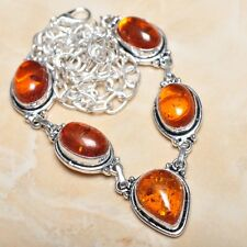 "Handmade Baltic Faux Amber Gemstone 925 Sterling Silver Necklace 19.5"" #N00752"