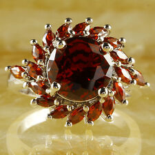 Classical Garnet Red Wedding Jewelry Gemstone Women Nice Silver Ring US Size 8