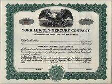 York Lincoln-Mercury Company Stock Certificate Pennsylvania Automobile