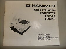 Instructions slide projector HANIMEX RONDETTE 1800 RF AF model's  CD/EMail