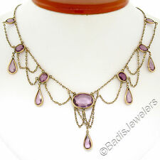 Antique Victorian 8k Yellow Gold Oval & Pear Amethyst Chandelier Dangle Necklace