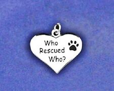 Pet Dog Cat Charm Rescued Rescue Pendant Paw Print Heart Sterling Silver Pl Who