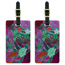 Tropical Forest Magenta Purple Teal Luggage Suitcase Carry-On ID Tags Set of 2