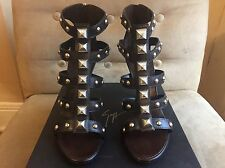 GIUSEPPE ZANOTTI DESING DARK BROWN SILVERS STTUDED STRAPPY HIGH HEEL SHOES 40 10