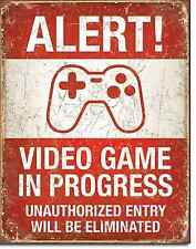 Alert Video Game In Progress TIN SIGN metal poster kid play room wall decor 2037
