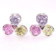 Filles Femmes Clous Rose Lilas Fleur Imitation Diamant Plaqué Or Blanc