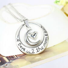 GIFT Fashion Silver plated Circle Heart Moon Hollow Pendant Necklace Jewelry