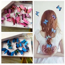 10 Imitation 3D Butterfly Hair Clips Wedding Festival Beach Party Mixed Colours