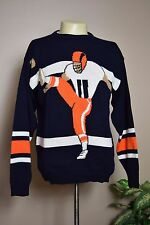 VINTAGE 80's IMPACT PUNTER KICKER UGLY NFL FOOTBALL ACRYLIC KNIT SWEATER * XL